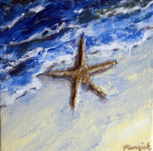 """Starfish"" 4x4 mixed media painting."
